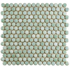SomerTile 12x12.625-inch Penny Mint Green Porcelain Mosaic Floor and Wall Tile (10/Case, 10.2 sqft.) (Penny Mint Green), Size 12 x 12