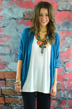 Teal Pocket Cardigan. Use discount code ZZS44 at checkout for 10% off your entire order plus free shipping!