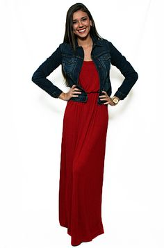 Red dress jean jacket and maxi