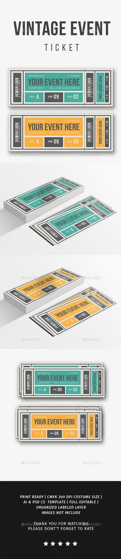 Buy Vintage Event Ticket by lilynthesweetpea on GraphicRiver. Vintage Event Ticket Features The ticket's size is + bleed, CMYK Layers are all well organized. Print Fonts, Business Powerpoint Templates, Print Templates, Flyer Design, Event Ticket, Event Planning, Icons, Logos, Creative