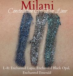 Milani Constellation Gel Eye Liner Swatches via @BlushingNoir