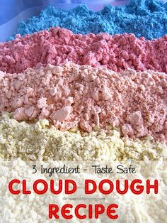 Make your very own vibrant color cloud dough that is taste safe for toddlers! Take a look at our new way to use this classic cloud dough recipe.