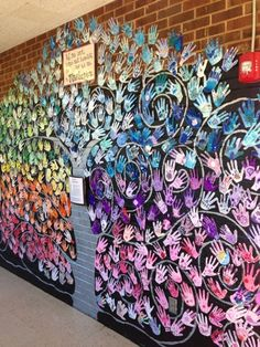 collaborative mural on side of the lower pod with all the students hands. trunk… collaborative mural on side of the lower pod with all the students hands. trunk and swirls black Group Art Projects, School Art Projects, Collaborative Art Projects For Kids, Middle School Art, Art School, School Auction, High School, Collaborative Mural, Classe D'art