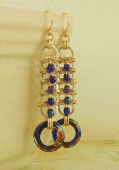 Swarovski Crystal Volcano, Silver Filled and 14kt Yellow Gold Filled Earrings KIT - Stunning Chainmaille Dangles. $30.00, via Etsy.