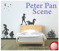Peter Pan Captain Hook Pirate scene vinyl wall by circlewallart