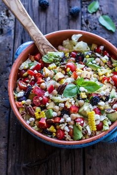 Easy Summer Herb and Chickpea Chopped Salad with Goat Cheese. This is filled with all kinds of healthy delicious things! (halfbakedharvest)