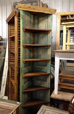 Corner cupboard made from antique French doors in original old paint, waxed over