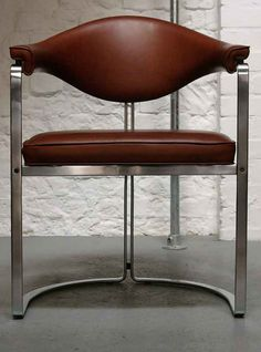 Horst Brüning; Chromed Steel and Leather Chair for Kill, 1968.