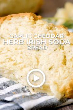 Garlic Cheddar Herb Irish Soda Bread by oh sweet basil. This easy recipe is gre… Easy Irish Recipes, Easy Bread Recipes, Baking Recipes, Scottish Recipes, Irish Desserts, Irish Cream, Irish Soda Bread Recipe, Basil Bread Recipe, Traditional Irish Soda Bread