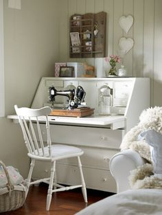 Such a pretty sewing corner, but,  I worry that the tabletop would not be sturdy enough...