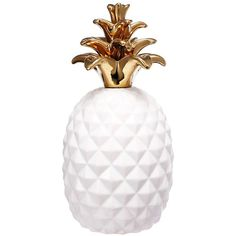 A&B Home White Pineapple Figurine ($9.99) ❤ liked on Polyvore featuring home, home decor, pineapple home accessories, white home accessories, pineapple home decor, ceramic home decor and white ceramic figurines