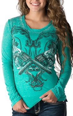 Rock & Roll Cowgirl Women's Teal with Winged Guns Long Sleeve Burnout Tee - Plus Sizes (casual country outfits plus size) Country Wear, Country Girl Style, Country Fashion, Country Outfits, Western Outfits, Western Wear, My Style, Kinds Of Clothes, Clothes For Women