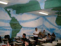 Sala de Geografia pintada pelos Anjos Pintores