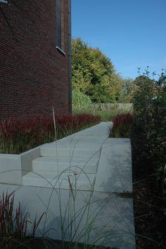 Strak tuinontwerp trap en helling in betontegels siergrassen imperata tuinontwerp axis - Trap helling ...