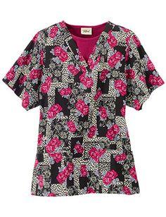 "Tafford ""Spotted Romance"" rose print scrub top"