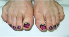 Pink & Black Toe Nails