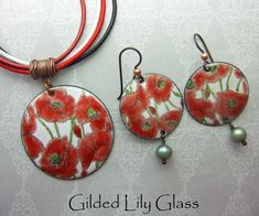 Valentine Poppy Enamel Pendant, Copper Enamel Jewelry Handmade in North Carolina http://etsy.me/2nhmApn