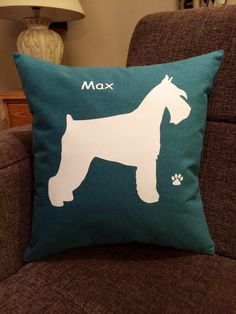 Personalised Schnauzer Dog Cushion by ScatterDesigns on Etsy