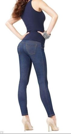 Opaque Denim Jeans Cotton Leggings with push-up padding  on the bottom #Marilyn