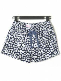 Dark Floral Printed Drawstring Elastic Waisted Loose Shorts