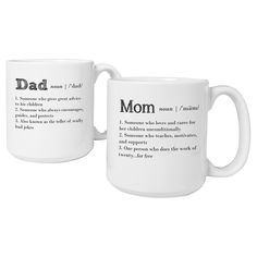 Give meaning to your parents' love with the 20 oz. Parent Definition Large Coffee Mugs. Holding a full 20 oz. of any favorite beverage, each mug features a loving description of mom and dad. A uniquely designed mug set, it's a delightful gift to brig Large Coffee Mugs, White Coffee Mugs, Diy Gifts For Dad, Cute Gifts, Mom Gifts, Friend Gifts, Parent Gifts, Family Gifts, Mother Day Gifts