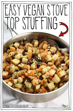 Easy Vegan Stove Top Stuffing!! The perfect traditional stuffing for Thanksgiving or Christmas. Just 30 minutes and can be made ahead of time. Perfectly seasoned, fluffy, with sage, thyme, rosemary and dried cranberries. #itdoesnttastelikechicken #veganrecipes #veganthanksgiving #thanksgiving Vegan Thanksgiving Dinner, Thanksgiving Recipes, Vegan Christmas Dinner, Christmas Recipes, Thanksgiving 2020, Holiday Recipes, Christmas Side, Christmas Dishes, Holiday Meals