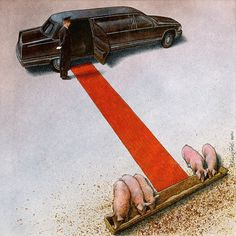These illustrations will make you question everything wrong with the world — and that's not just click bait. The social commentary of artist Pawel Kuczynski comes with a critical punch. Satire, Satirical Illustrations, Political Art, Political Images, Political Cartoons, Question Everything, Humor Grafico, Foto Art, Thought Provoking