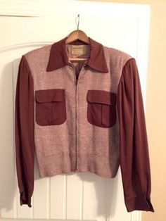 Vintage-Two-Tone-1950-s-Gabardine-Tweed-Jacket-Size-M