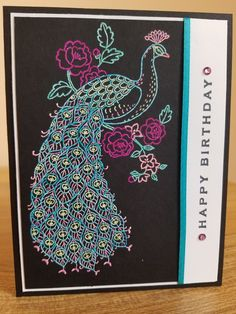 Stampin Up Perfect Peacock birthday card. Perfect Peacock, Birthday Cards, Happy Birthday, Stamp Sets, Stampin Up, Card Ideas, Alice, Birthdays, Birds
