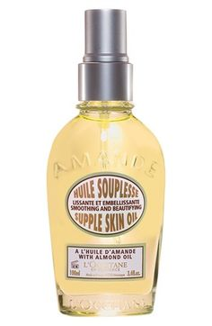 Free shipping and returns on L'Occitane Almond Supple Skin Oil at Nordstrom.com. Almond Supple Skin Oil melts quickly into your skin, nourishing and softening while leaving behind a satiny-smooth finish and the mouthwatering scent of fresh almonds.<br><br>How to use: Apply all over the body morning and evening.