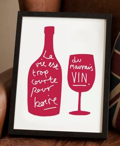 This elegant French wine print is the perfect kitchen print , especially for wine lovers! The French kitchen print is an ideal housewarming gift and complements any kitchen decor. The French kitchen print is uniquely illustrated with the French quote La vie est trop courte pour boire du mauvais vin, which translates to Life is too short to drink bad wine.    We have a choice of lovely colours for you to choose from. You can also choose the colour style to be a coloured…