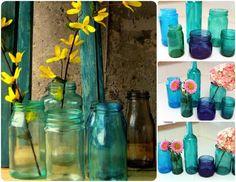 Descubre los pasos que debes seguir para teñir tarros o botellas de cristal y que sigan siendo transparentes.