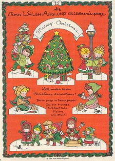 Joan Walsh Anglund Christmas Decorations paper doll craft page Christmas Paper, Retro Christmas, Christmas Love, Christmas Images, Christmas Themes, Christmas Crafts, Christmas Decorations, Vintage Holiday, Paper Toys