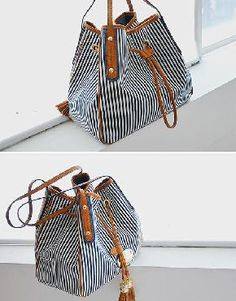 Vogue New Women Striped Drawstring Canvas One Shoulder bag