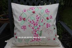 A gorgeous summery Family Tree cushion. Available to order from https://www.facebook.com/Babas.Sew.Creative