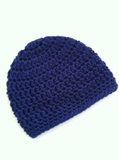 Navy Blue Beanie Crochet Baby Hat Newborn by LakeviewCottageKids, $12.00
