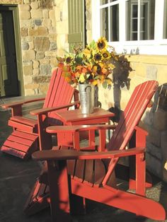 Adirondack Chairs and table.