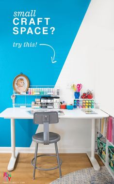 How to decorate a small craft space on a budget - find clearance and cheap furniture deals, upcycle thrift shops finds, and more craft organizing ideas on a budget. #SmartFunDIY #CraftRoom #CraftSpace #Organizing #ThriftShop #Upcycle