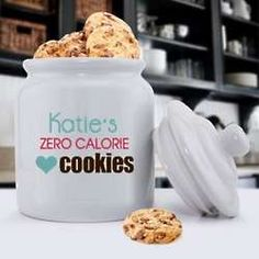 Personalized Zero Calories Ceramic Cookie Jar