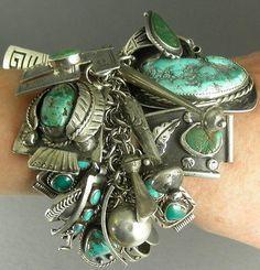 Редкие GREEN-315g-Браслет-с-Charms-By-навахо-Zuni-ремесленников