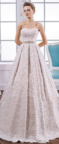 Romantic Lace Strapless Neckline A-Line Wedding Dress With Belt & Beadings & Bowknot