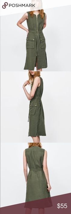 f72a157f NWT Zara Olive Green Front Zip Linen Belted Dress Olive green sleeveless  linen dress. Round