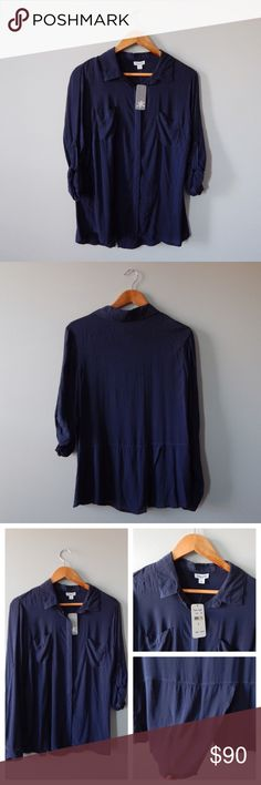 "Splendid Navy Voile Placket Shirt Splendid ""Voile Placket Shirt"" size medium. Super soft, 100% rayon fabric. Long sleeves with button tab detail. Adorable tulip hem detailing on the back! Brand new with tags - never worn. Splendid Tops Blouses"