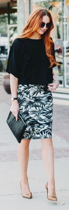Palm Pencil Skirt Outfit Idea by LITTLE J STYLE
