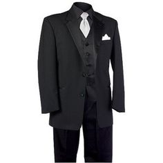 All black tuxedo with white or off white accents. Maybe bow tie. If we don't do a destination wedding these are suits I would love to consider :) Wedding Tux, Wedding Ideas, Wedding Book, Wedding Bells, Wedding Decor, Wedding Planning, All Black Tuxedo, Black Tie, White Bow Tie
