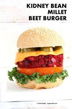 Kidney Bean Millet Beet Burger. Veggie Burgers with Beet, Beans and Millet (or quinoa). Bake or pan fry. Moist flavorful Vegan Burger patties. Soyfree, gluten-free patties