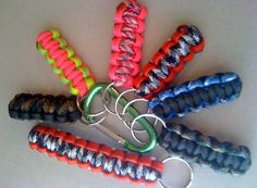 An assortment of Paracord key chains, by Paracordable.