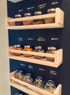 IKEA spice racks with chalkboard wall