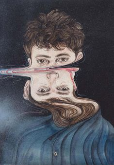 The Greatest Print, Distorted Paintings Henrietta Harris is a very talented illustrator from Auckland, New Zealand. Henrietta paints this skewed series of watercolor portraits with this amazing. Glitch Art, Glitch Kunst, Art And Illustration, Art Inspo, Kunst Inspo, Distortion Art, Illustrator, Kunst Online, A Level Art