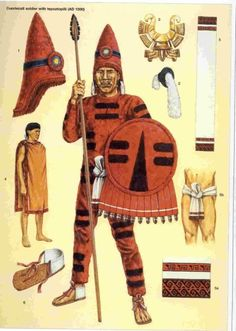 "Cuextecatl soldier Based on the codex mendoza showing the 2 captive warrior rank. All limb-encasing bodysuits were called tlahuiztli. This particular uniform being the most demanded by the Triple Alliance as tribute along with the jaguar style uniforms. They came in a variety of colors, the one portrayed being red. Source: Osprey Military Warrior series 32 ""Aztec Warrior AD1325-1521"" by John Pohl. Illustrator: Adam Hook"